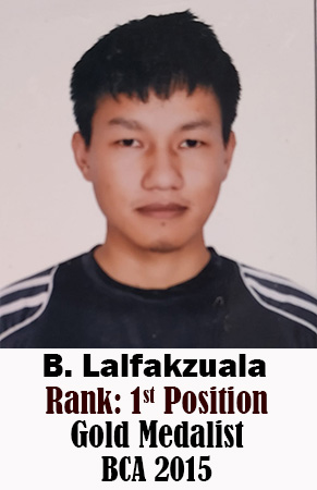 B Lalfakzuala, 1st Rank, Computer Science, 2015