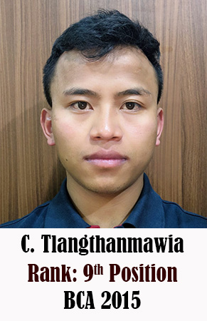 C Tlangthanmawia, 9th Rank, Computer Science, 2015
