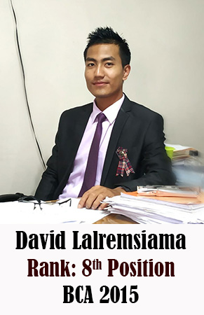David Lalremsiama, 8th Rank, Computer Science, 2015