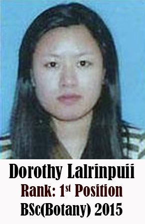 Dorothy Lalrinpuii, 1st Rank, Botany, 2015