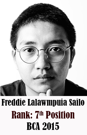 Freddie Lalawmpuia Sailo, 7th Rank, Computer Science, 2015