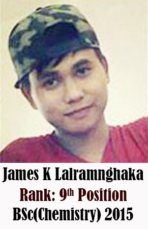 James K Lalramnghaka, 9th Rank, Chemistry, 2015