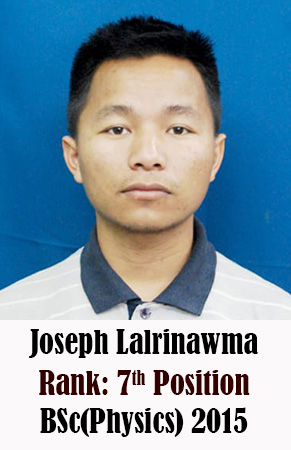 Joseph Lalrinawma, 7th Rank, Physics, 2015