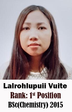 Lalrohlupuii Vuite, 1st Rank, Chemistry, 2015