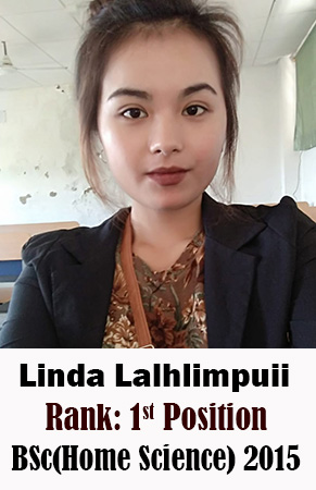 Linda Lalhlimpuii, 1st Rank, Home Science, 2015