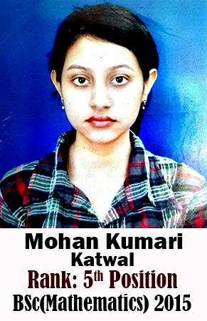 Mohan Kumari Katwal, 5th Rank, Mathematics, 2015