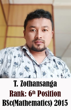 T Zothansanga, 6th Rank, Mathematics, 2015