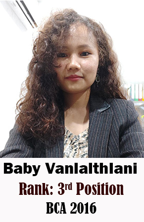 Baby Vanlalthlani, 3rd Rank, Computer Science, 2016
