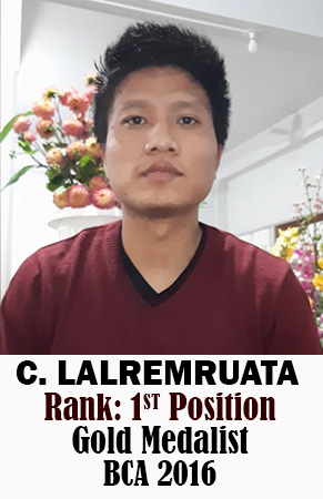 C Lalremruata, 1st Rank, Computer Science, 2016