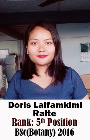 Doris Lalfamkimi Ralte, 5th Rank, Botany, 2016