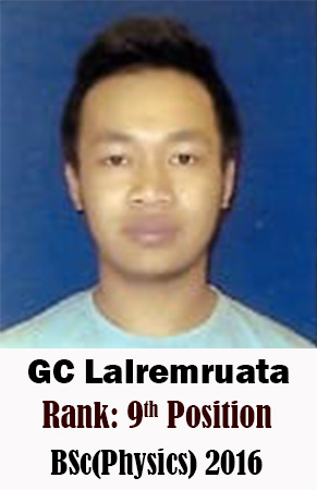 GC Lalremruata, 9th Rank, Physics, 2016