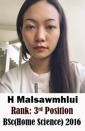 H Malsawmhlui, 3rd Rank, Home Science, 2016