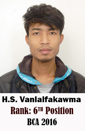 H.S. Vanlalfakawma, 6th Rank, Computer Science, 2016