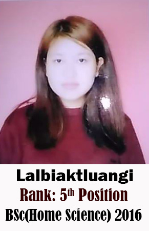 Lalbiaktluangi, 5th Rank, Home Science, 2016