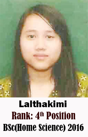 Lalthakimi, 4th Rank, Home Science, 2016