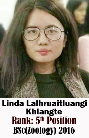 Linda Lalhruaitluangi Khiangte, 5th Rank, Zoology, 2016