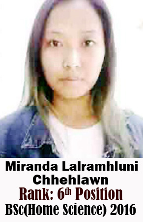 Miranda Lalramhluni Chhehlawn, 6th Rank, Home Science, 2016
