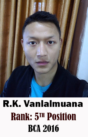 R.K. Vanlalmuana, 5th Rank, Computer Science, 2016