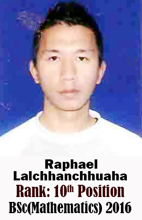 Raphael Lalchhanchhuaha, 10th Rank, Mathematics, 2016
