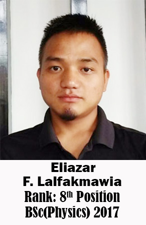 Eliazar F Lalfakmawia, 8th Rank, Physics, 2017