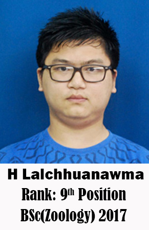 H Lalchhuanawma, 9th Rank, Zoology, 2017