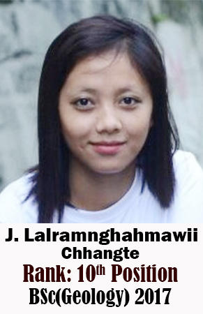 J Lalramnghahmawii Chhangte, 10th Rank, Geology, 2017