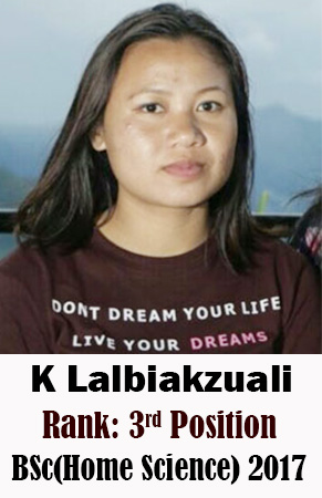 K Lalbiakzuali, 3rd Rank, Home Science, 2017