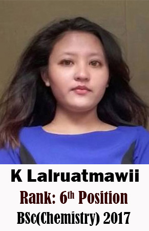 K Lalruatmawii, 6th Rank, Chemistry, 2017