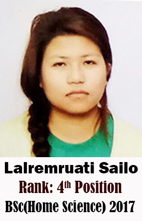 Lalremruati Sailo, 4th Rank, Home Science, 2017