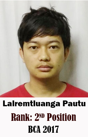 Lalremtluanga Pautu, 2nd Rank, Computer Science, 2017