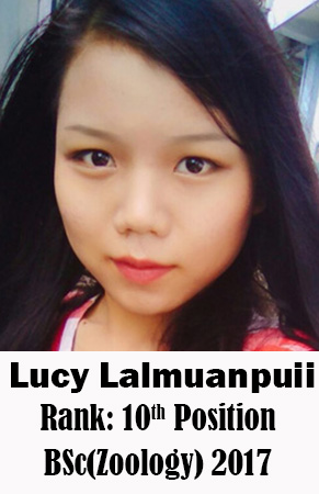 Lucy Lalmuanpuii, 10th Rank, Zoology, 2017