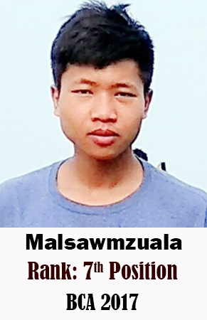 Malsawmzuala, 7th Rank, Computer Science, 2017