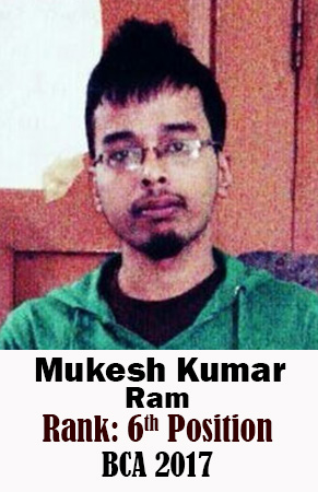 Mukesh Kumar Ram, 6th Rank, Computer Science, 2017