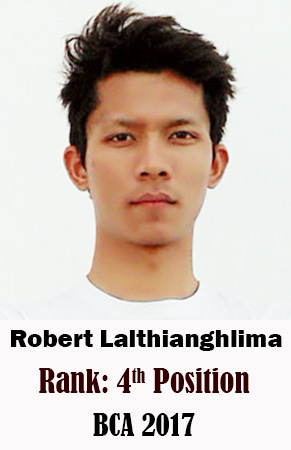 Robert Lalthianghlima, 4th Rank, Computer Science, 2017