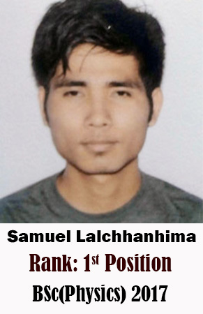 Samuel Lalchhanhima, 1st Rank, Physics, 2017