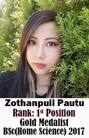 Zothanpuii Pautu, 1st Rank, Home Science, 2017
