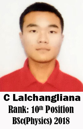 C Lalchangliana, 10th Rank, Physics, 2018