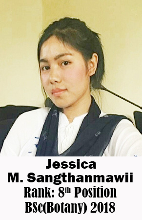 Jessica M Sangthanmawii, 8th Rank, Botany, 2018