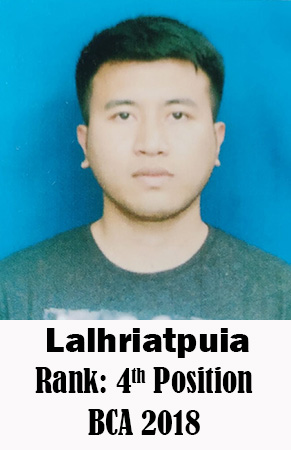 Lalhriatpuia, 4th Rank, Computer Science, 2018