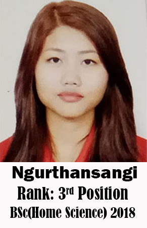 Ngurthansangi, 3rd Rank, Home Science, 2018