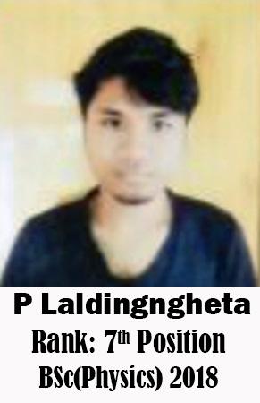 P Laldingngheta, 7th Rank, Physics, 2018