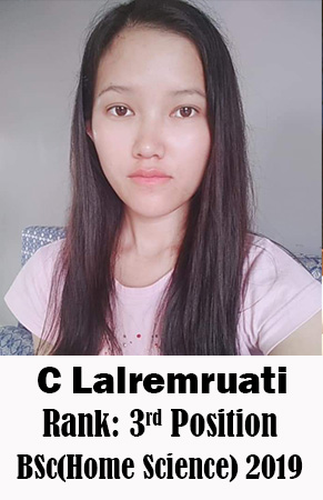 C Lalremruati, 3rd Rank, Home Science, 2019