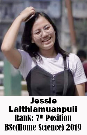 Jessie Lalthlamuanpuii, 7th Rank, Home Science, 2019