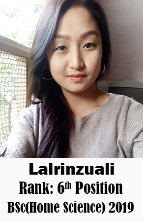Lalrinzuali, 6th Rank, Home Science, 2019