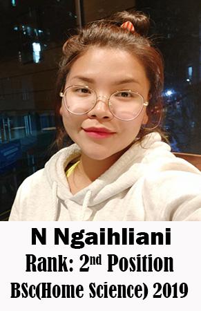 N Ngaihliani, 2nd Rank, Home Science, 2019