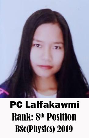 PC Lalfakawmi, 8th Rank, Physics, 2019