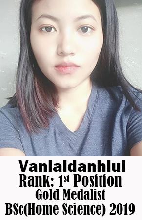 Vanlaldanhlui, 1st Rank, Home Science, 2019